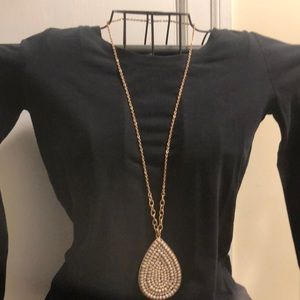 Long gold and gray necklace